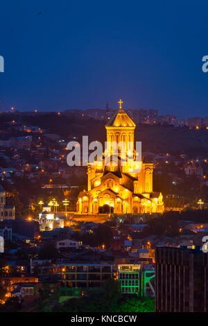 The Holy Trinity Cathedral, Sameba, Tbilisi City, Georgia, Middle East. - Stock Photo