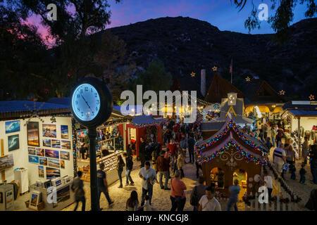 Laguna Beach, DEC 10: Night view of many beautiful art show in Sawdust Art winter festival on DEC 10, 2017 at Laguna - Stock Photo