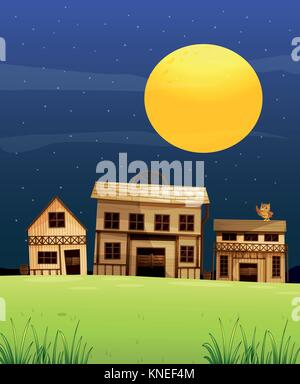 Illustration of a full moon, stars, houses and an owl in the middle of the night - Stock Photo