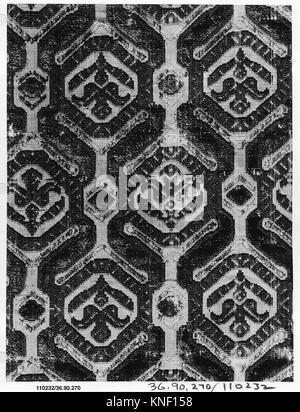 Piece. Date: 16th-17th century; Culture: Italian; Medium: Silk; Dimensions: L. 13 x W. 7 inches (33.0 x 17.8 cm); - Stock Photo