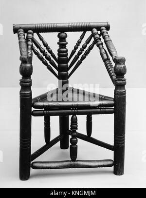Three-legged chair. Date: late 16th-early 17th century; Culture: British; Medium: Ash with oak seat; Dimensions: - Stock Photo