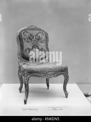 Side chair (one of a pair, part of a set). Date: mid-18th century; Culture: Italian, Venice; Medium: Walnut, painted - Stock Photo