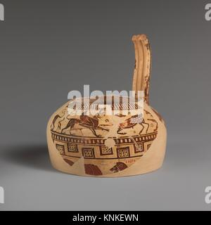 Fragment of a terracotta oinochoe (jug). Attributed to the Altenburg Painter; Period: Archaic; Date: ca. 560-550 - Stock Photo
