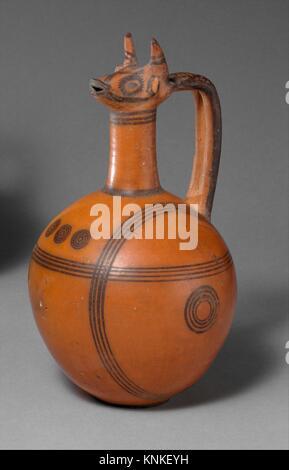 Terracotta jug. Period: Cypro-Archaic I; Date: ca. 750-600 B.C; Culture: Cypriot; Medium: Terracotta; Dimensions: - Stock Photo