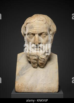 Marble bust of Herodotos. Period: Imperial; Date: 2nd century A.D; Culture: Roman; Medium: Marble, Island ?; Dimensions: - Stock Photo