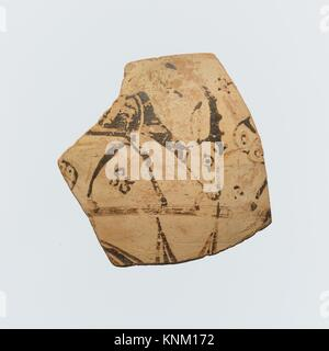 Fragment of a terracotta oinochoe (jug). Period: Archaic; Date: 7th century B.C; Culture: East Greek, Wild Goat - Stock Photo