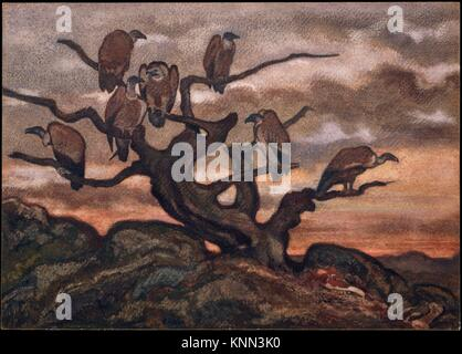 Vultures on a Tree. Artist: Antoine-Louis Barye (French, Paris 1796-1875 Paris); Date: 1810-75; Medium: Watercolor - Stock Photo