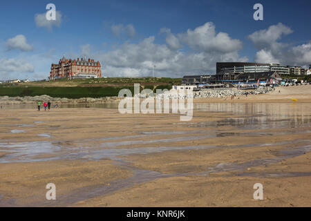 View across Fistral beach, Newquay, Cornwall towards the gothic headland hotel and the new - Stock Photo