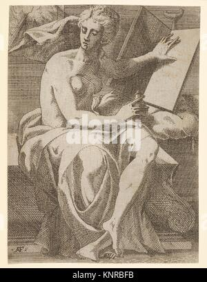 Sibyl seated before an open book upon which she rests her left hand, she twists her face away from the book and - Stock Photo