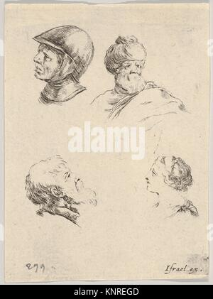 Plate 8: four small heads, a soldier at upper left, a Turk with a turban and beard at upper right, a bearded man - Stock Photo