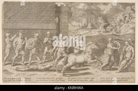 The combat of Hector and Achilles, and Achilles dragging the body of Hector around the walls of Troy. Artist: Giulio - Stock Photo