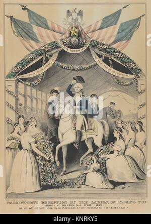 Washington´s Reception by the Ladies on Passing the Bridge at Trenton, N.J., April 1789, on His Way to be Inaugurated - Stock Photo