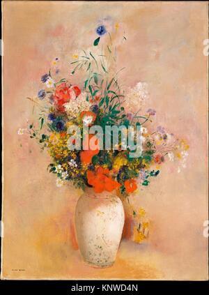 Vase of Flowers (Pink Background). Artist: Odilon Redon (French, Bordeaux 1840-1916 Paris); Date: ca. 1906; Medium: - Stock Photo