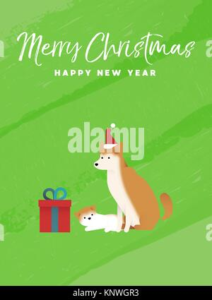 Merry Christmas and Happy New Year holiday greeting card illustration. Shiba inu dog and puppy on colorful texture - Stock Photo
