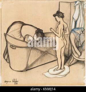 Before the Bath. Artist: Suzanne Valadon (French, Bessines-sur-Gartempe 1865-1938 Paris); Date: 1908; Medium: Charcoal, - Stock Photo
