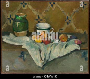 Still Life with Jar, Cup, and Apples. Artist: Paul Cézanne (French, Aix-en-Provence 1839-1906 Aix-en-Provence); - Stock Photo