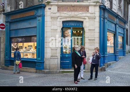 Cote Basque Philatelie Shop; Rue de la Monnaie Street; Bayonne; France - Stock Photo