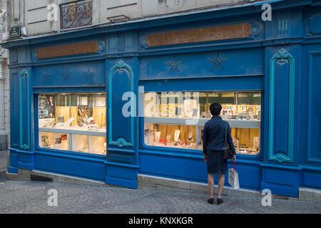Cote Basque Philatelie Shop, Rue de la Monnaie Street, Bayonne, France - Stock Photo