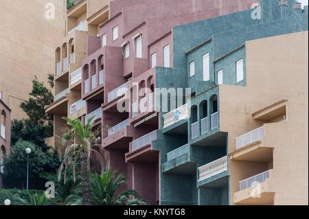 Detail of buildings in front of the beach, Cullera, Valencia, Spain - Stock Photo