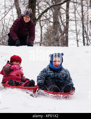 Brother and sisters (5 and 3 yrs old) sledging together in Quebec in winter, while mum looks on - Stock Photo