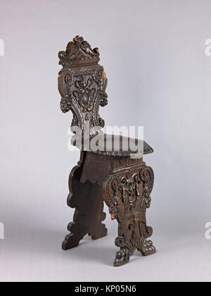 Side chair (Sgabello, pair with 1975.1.1989). Date: late 16th century (partly); Culture: Italian, Rome or Florence; - Stock Photo