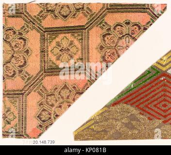 Piece. Date: 17th century; Culture: Japan; Medium: Silk / Compound weave; Dimensions: 5 in. x 5 7/8 in. (12.7 x - Stock Photo