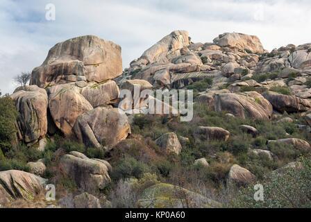 Sirio cliffs in the Pedriza. Regional Park del Ato Manzanares. Manzanares el Real. Madrid. Spain. Europe. - Stock Photo