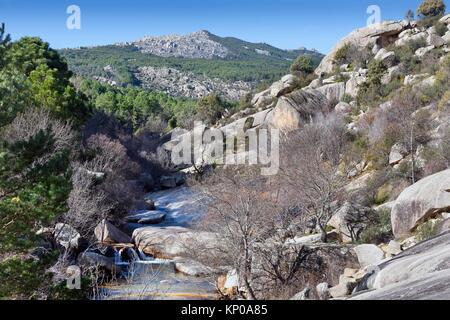 Camorza gorge in the Pedriza. Regional Park del Ato Manzanares. Manzanares el Real. Madrid. Spain. Europe. - Stock Photo