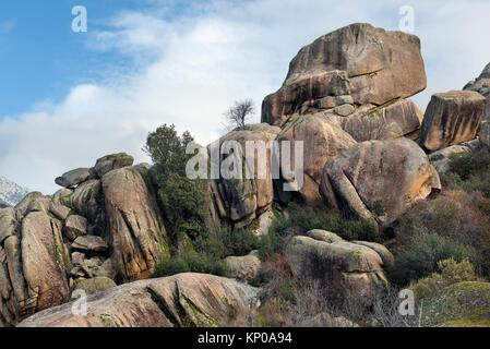The Brezos cliffs in the Pedriza. Regional Park del Ato Manzanares. Manzanares el Real. Madrid. Spain. Europe. - Stock Photo