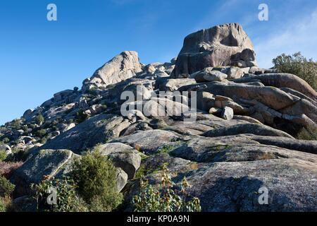 Brezos and Sirio cliffs in the Pedriza. Regional Park del Ato Manzanares. Manzanares el Real. Madrid. Spain. Europe. - Stock Photo
