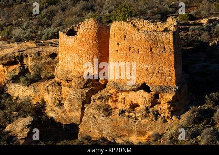 Twin Towers, Hovenweep National Monument, Utah. - Stock Photo
