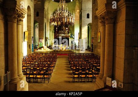 interior of Saint Front Cathedral, Perigueux, Dordogne Department, Aquitaine, France. - Stock Photo