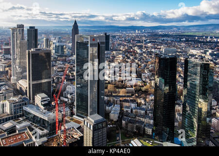 Frankfurt,Germany.Aerial view from Helaba Main Tower of city centre. Westend Tower,PWC  High-rise,FBC tower,Messeturm,Sparkasse,two - Stock Photo