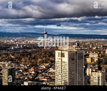 Frankfurt,Germany.Aerial view from Helaba Main Tower.UBS bank,TV tower,inner city,black storm clouds - Stock Photo