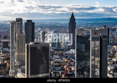 Frankfurt,Germany.Aerial view from Helaba Main Tower. Westend Tower,PWC  High-rise,FBC tower,Messeturm,Sparkasse - Stock Photo