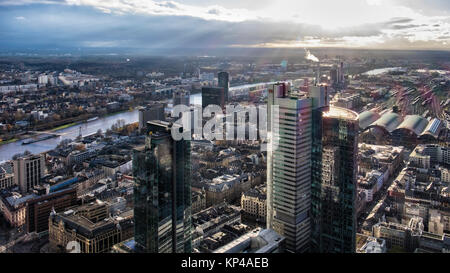 Frankfurt,Germany.Aerial view from Helaba Main Tower. Deutsche Bahn High-rise,Main railway station and river - Stock Photo