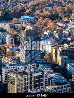 Frankfurt,Germany.Aerial view from Helaba Main Tower of city centre buildings - Stock Photo