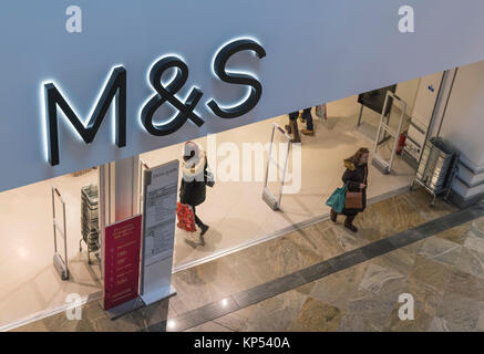 M&S (Marks and Spencer) shop front in the West Quay Shopping Centre in Southampton, England, UK. - Stock Photo