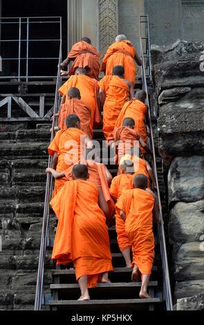 Buddhist monks,Angkor Wat, Cambodia,Indochina,Southeast Asia,Asia. - Stock Photo