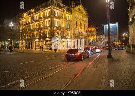 Praca da Liberdade by night is the town hall square in Porto on January 6, 2017 Portugal - Stock Photo