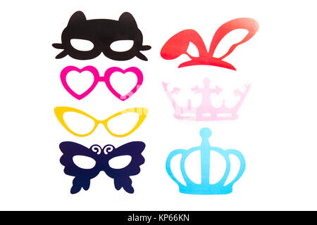 Photobooth Birthday and Party Set - glasses, hats, crowns, masks, lips, mustaches - Stock Photo