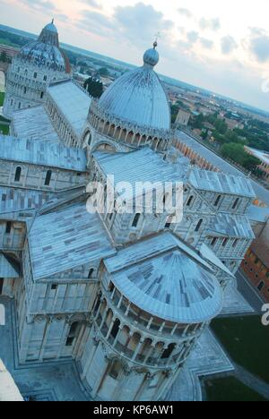 View of the The Cathedral of Pisa from the top of the the Pisa Tower in Pisa, Italy. The leaning tower of Pisa is - Stock Photo