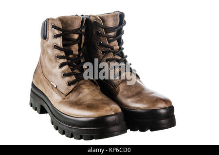Leather winter boot. Isolated on a white - Stock Photo