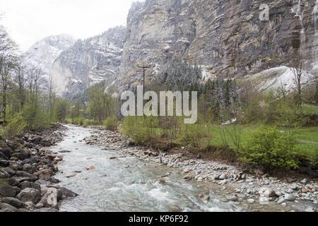 Landscape in Lauterbrunnen Junfrau region Berner Oberland Switzerland. - Stock Photo