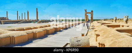 PERSEPOLIS, IRAN - OCTOBER 13, 2017: Panorama of Army street with a view on tall columns of Apadana palace and Xerxes - Stock Photo