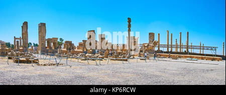 PERSEPOLIS, IRAN - OCTOBER 13, 2017: Panorama Persepolis archaeological complex, the ruins of Hundred Columns Hall - Stock Photo