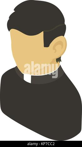 Priest asian icon, isometric 3d style - Stock Photo