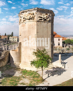 Remains of the Roman Agora and Tower of the Winds in Athens, Greece - Stock Photo