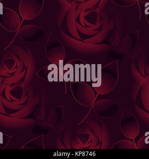 Abstract floral background, seamless roses blossoms and leaves in dark red shades blurred, elegant and dreamy - Stock Photo