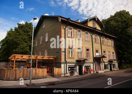 Traditional houses and a cafe-restaurant in Pohja district in the city center,Tallinn, Estonia, Baltic States, Europe. - Stock Photo